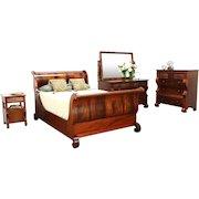 Empire Antique 4 Pc. Bedroom Set, Full Size Sleigh Bed, Signed Berkey & Gay