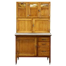 Hoosier Oak Antique Kitchen Pantry Cupboard, Zinc Top, Stained Glass Doors