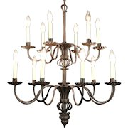 Wrought Iron 15 Candle Vintage Double Tier Chandelier