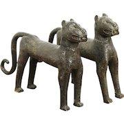 Pair Bronze Statues of Leopards, Antique Sculptures, Benin Kingdom of Africa