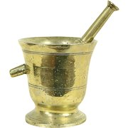 Brass 1890's Antique Mortar & Pestle with Handle