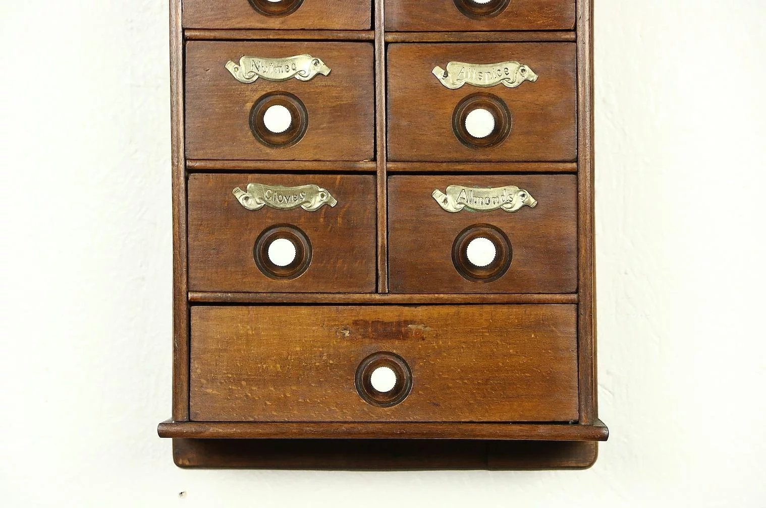 Click to expand - Spice Cabinet, 1910 Antique Hanging Or Countertop, 9 Drawers : Harp