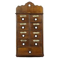 Spice Cabinet, 1910 Antique Hanging or Countertop, 9 Drawers