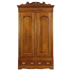 Oak Carved Victorian 1895 Antique Armoire, Wardrobe or Closet