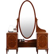 Vanity or Dressing Table & Mirror 1925 English Art Deco Rosewood Marquetry