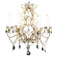 Six Candle 1940's Vintage Chandelier, Crystal Prisms, Beads & Ball