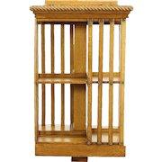 Oak Antique Spinning Bookshelf, Revolving Chairside Bookcase, Signed Danner