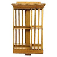 Oak Antique Spinning Bookshelf, Revolving Chairside Bookcase, Signed Danner