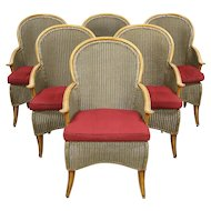 Set of 6 Wicker & Faux Bamboo Outdoor Dining Chairs, Signed Summer Classics