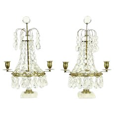 Pair 1900 Antique Candelabra, Marble, Brass & Crystal Candleholders
