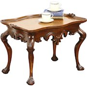 Carved Mahogany Coffee Table, Curly Birdseye Maple Top