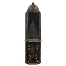 Baroque Lighted Hall Mirror, 1960's Vintage, Angel Sculptures