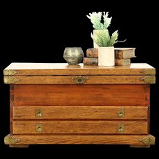 Oak & Pine 1890's Antique Handcrafted Tool Chest or Rustic Coffee Table