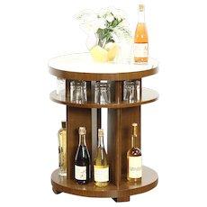 Midcentury Modern 1960 Vintage Scandinavian Drinks or End Table, Marble Top