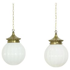 Pair 1910 Antique Brass Store Light Fixtures, Embossed Milk Glass Globes