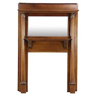 Victorian Oak Architectural Salvage Antique Fireplace Mantel, Mirror, Columns