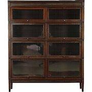 Double Wide 4 Stack Antique Mahogany Lawyer Bookcase, Signed Globe Sheraton