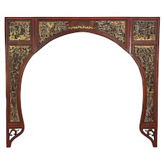 Chinese Carved Antique Architectural Salvage Archway or Fireplace Mantel