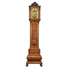 Dutch Baroque Marquetry 1700's Long Case Grandfather Clock, Straatman, Hague