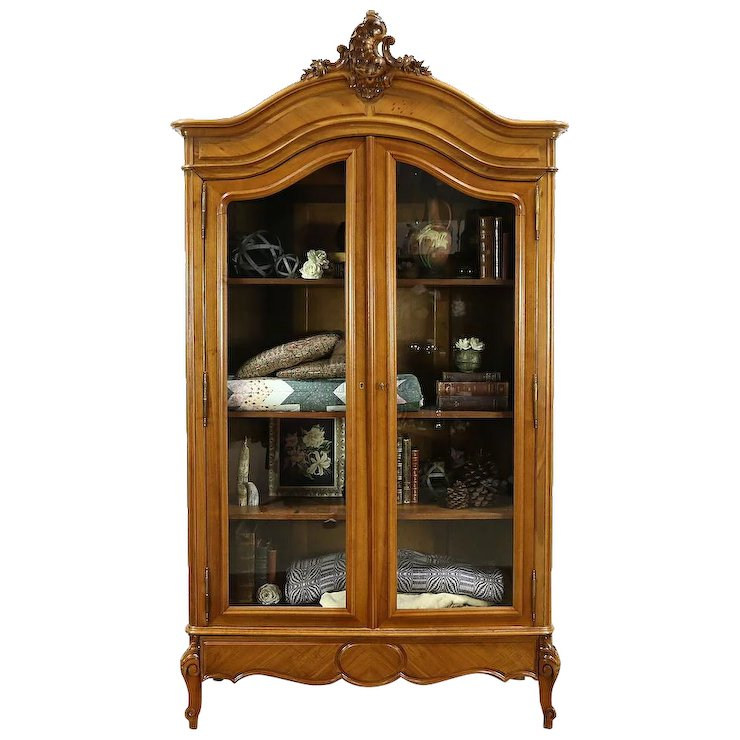 French Antique Carved Fruitwood Armoire, Bookcase or China Cabinet, Glass  Doors - French Antique Carved Fruitwood Armoire, Bookcase Or China Cabinet