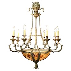 """Maitland Smith Signed Vintage 8 Candle Grand Chandelier, Faux Alabaster 50"""" Tall"""