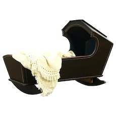 New England Antique 1840 Rocking Baby Cradle with Hood, Original Paint