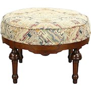 Victorian Eastlake 1870 Antique Walnut Footstool, New Upholstery