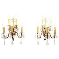 Pair of Vintage Bronze 5 Candle Wall Sconce Light Fixtures, Crystal Prisms