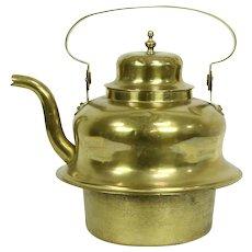 Stove Top Antique 1870's Brass Hot Water Tea Kettle