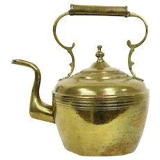 Brass Hand Hammered 1870's Antique Tea or Hot Water Kettle