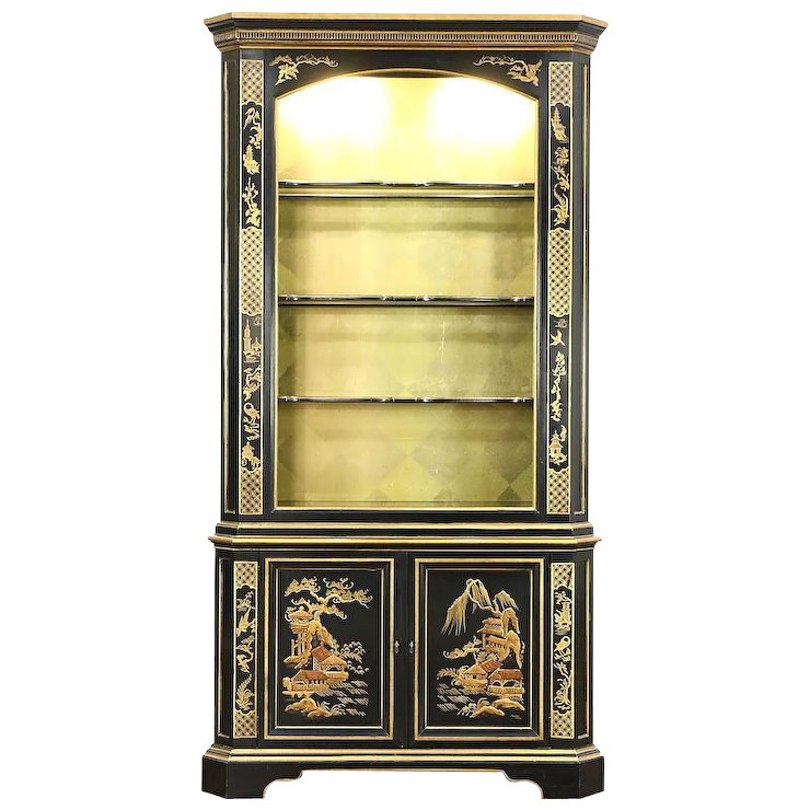 Black Lacquer Chinoiserie Vintage Curio Or China Display Cabinet Signed  Heritage