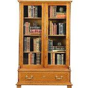 Victorian 1885 Antique Oak & Cherry Library Bookcase