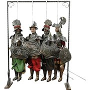 Set of 4 Antique late 1800's Hand Crafted Pupi, Puppets or Marionettes, Sicily