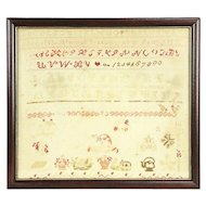 Sampler, Antique Hand Stitched in Frame, Signed Fannie