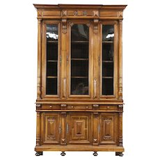 Victorian Antique Walnut 1875 Triple Library Bookcase, Wavy Glass, France
