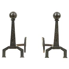 Pair of Hammered Cast Iron Arts & Crafts Antique Fireplace Andirons