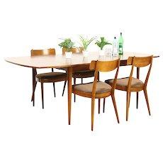 Midcentury Modern 1960's Vintage Dining Set, Table, Leaf, 4 Chairs, Drexel