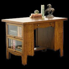 Arts & Crafts Mission Oak Antique Library Table, Lawyer Bookcase Ends, Kades