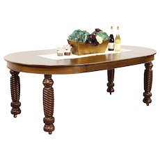 """45"""" Round Oak Antique 1900 Dining Table, 3 Leaves, Spiral Legs"""