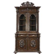Black Forest Antique 1890 Oak Bookcase or China Cabinet Carved Bird & Game Motif