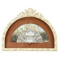 Mother of Pearl & Painted Silk Antique Folding Fan, Custom Frame