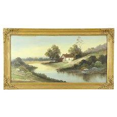 Victorian Antique Farmstead & Pond Scene Original 1900 Oil Painting