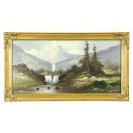 Victorian Antique Waterfall & Mountain Scene Original 1900 Oil Painting
