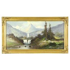 Victorian Antique Waterfall & Mountain Scene Original 1900 Oil Painting