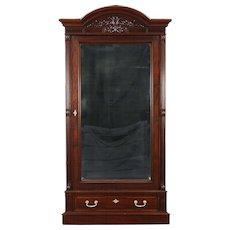 Mahogany 1875 Antique Armoire, Wardrobe or Closet, Beveled Mirror Door