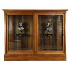 Oak 1900 Antique Drug Store Display Cabinet Pantry Cupboard, Sliding Glass Doors