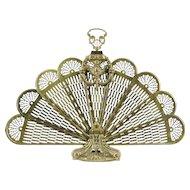 Peacock Fan Brass Vintage Folding Fireplace Hearth Screen