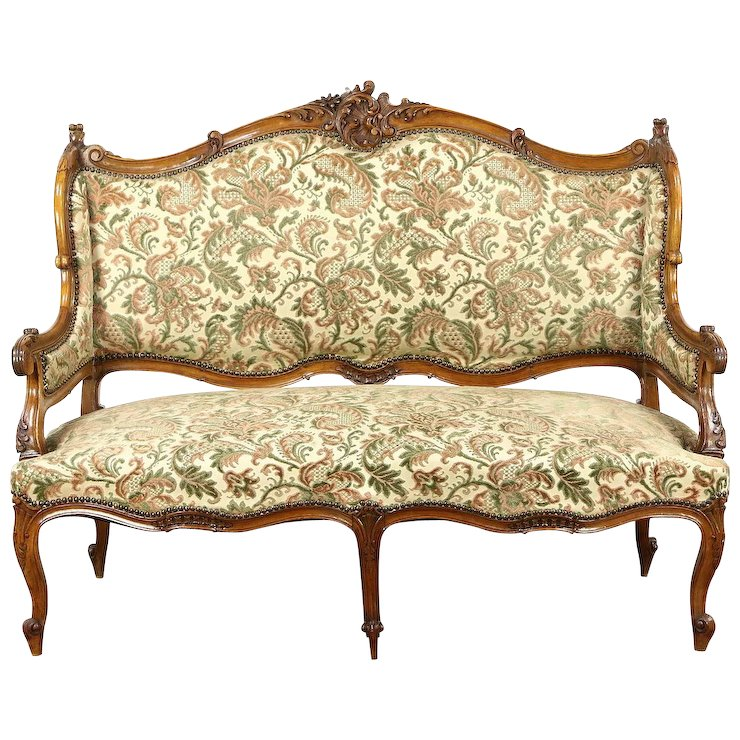 French Rococo 1920's Antique Carved Wingback Loveseat or Settee - French Rococo 1920's Antique Carved Wingback Loveseat Or Settee