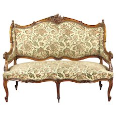 French Rococo 1920's Antique Carved Wingback Loveseat or Settee