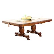 Empire Antique 1915 Hand Carved Dining Table, 4 Leaves, Extends 10'